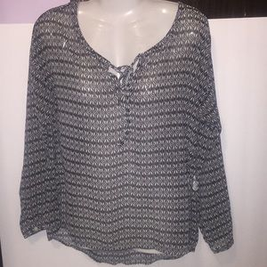 Old Navy gray sheer top. Size XS. Tie at neck.